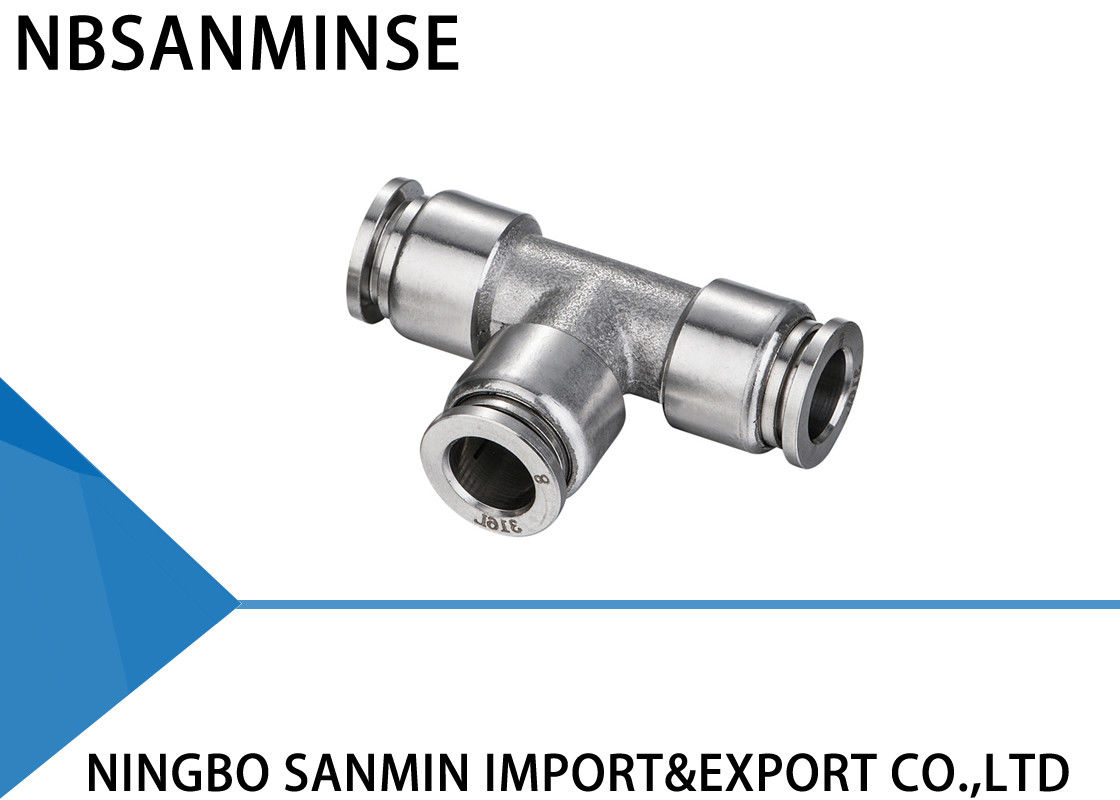 NBSANMINSE SSPUT Connector Pneumatic Anticorrosion Air Compressor Stainless Steel Fittings Food Grade Fitting Union Tee