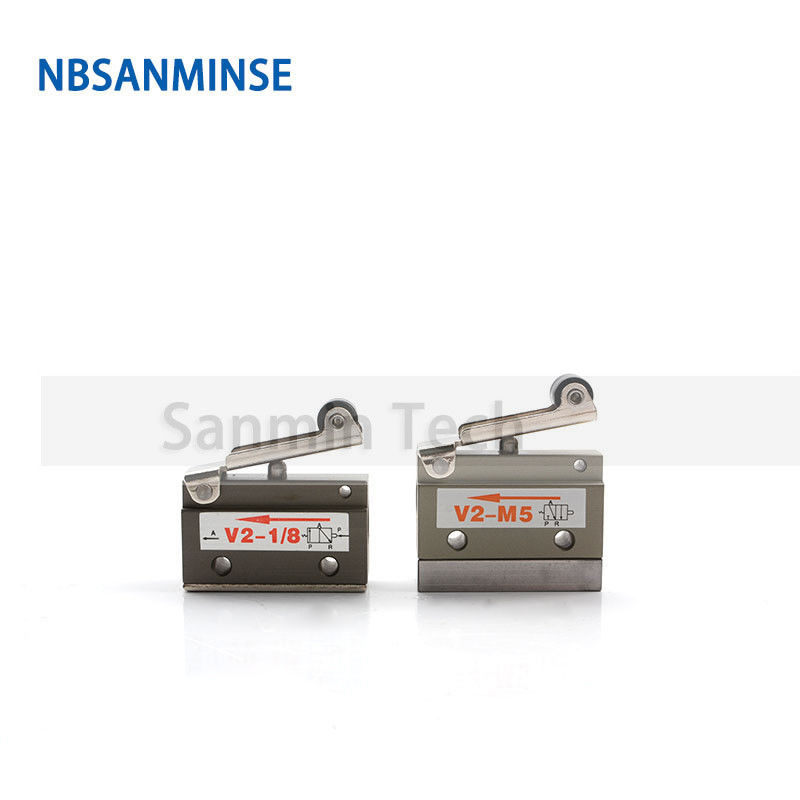 NBSANMINSE V2-M5 V2-1/8 2/2 way Air Mechnical Control valve Pneumatic two way roller valve automation line