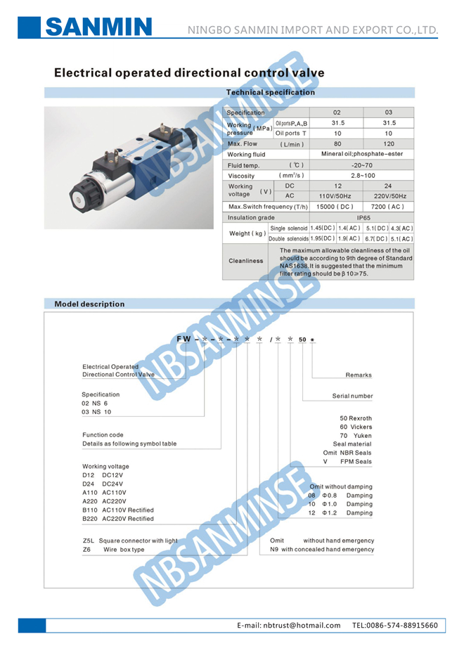 FW Electric Hydraulic Solenoid Valve , Hydraulic Solenoid Directional Control Valves