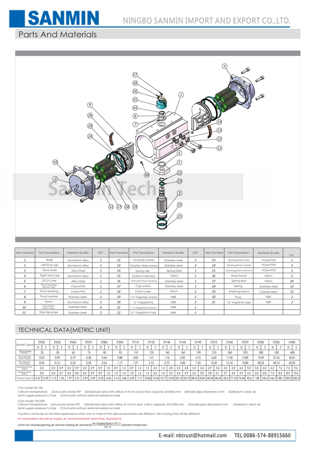 AT Double Action Pneumatic Valve Actuator Aluminium Alloy Body ISO9001 Certification