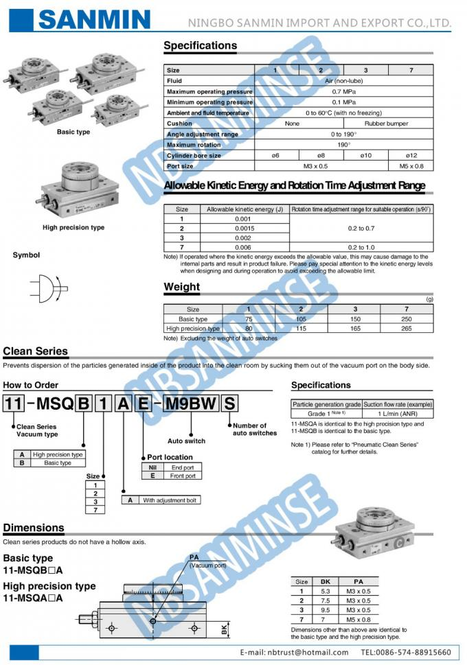 MSQ High Performance Smc Rotary Cylinder , Rack Pinion Style NBSANMINSE Brand