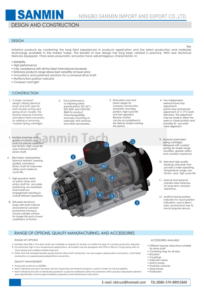Double Acting Pneumatic Valve Actuator , Air Actuator For Butterfly Valve