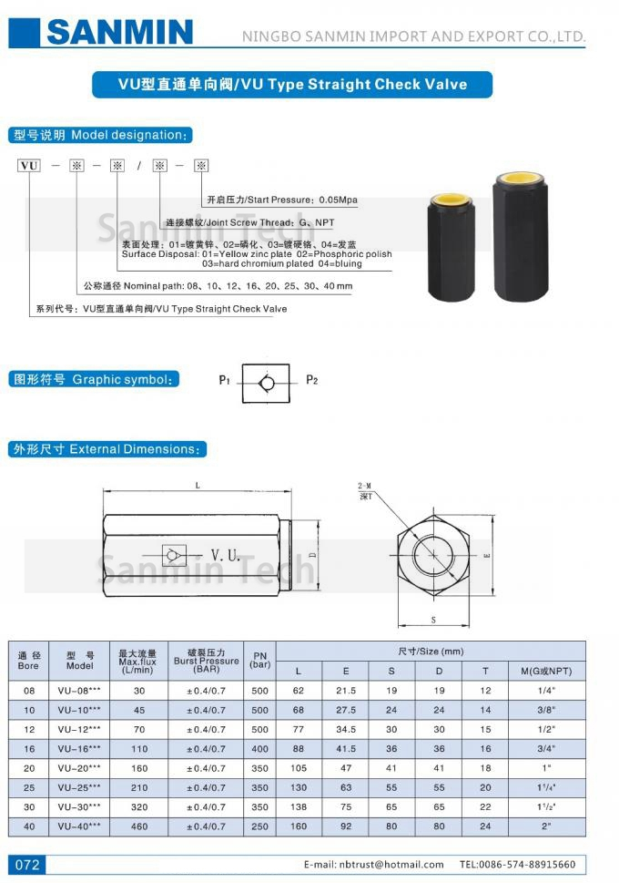 VU Type Straight Inline Hydraulic Check Valve , Hydraulic One Way Check Valve