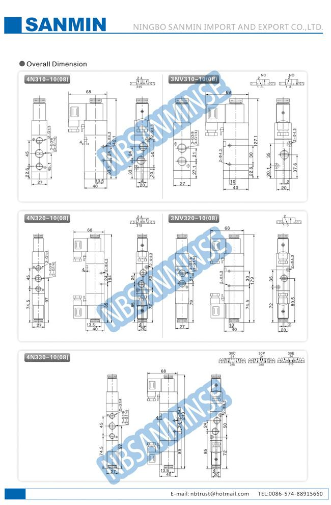 G / NPT Thread Pneumatic Solenoid Valve , Internal Pilot Solenoid Valve 4N300 3NV300 Series