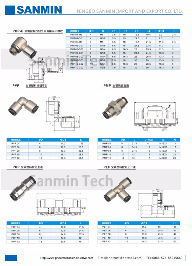 PVP All Brass Body Plastic Sleeve Pneumatic Air Fittings
