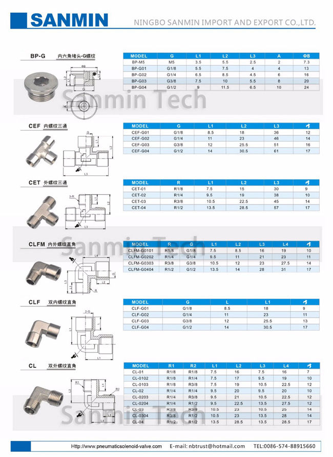 CLF Transition Air Quick Coupling Push Fittings Quick Connect Coupler Sanmin