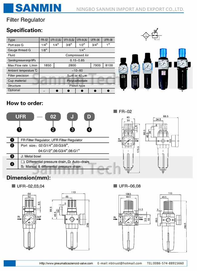Compressed Air Filter Regulator Lubricator - 10℃ - 60℃ Ambient Temperature