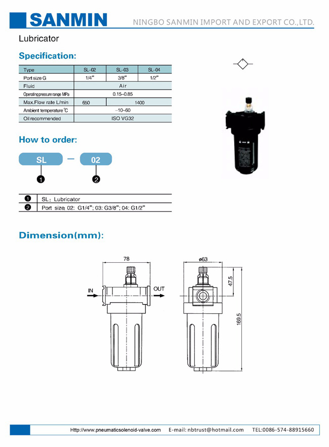 Black Aluminium Alloy Filter Regulator Lubricator SL2000 SL3000 SL4000