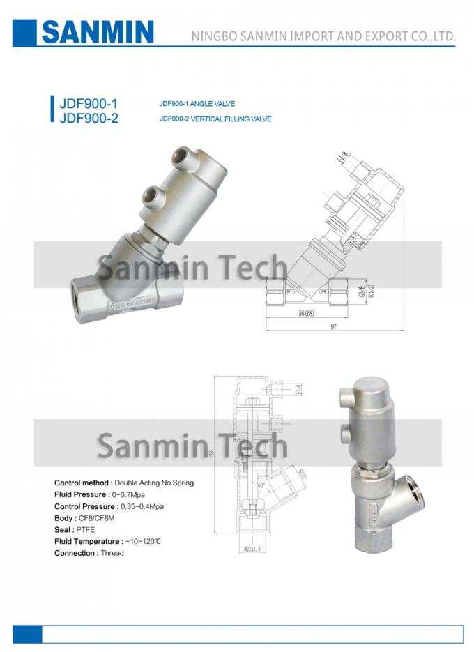 JDF900 - 1 JDF900 - 2 Pneumatic Angle Seat Valve Vertical Filling Thread Connection