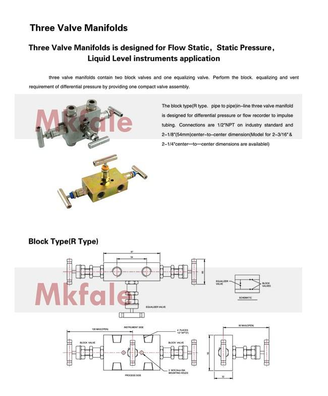 Three Valve Manifolds Two block Valves and One Equalizing Valve For Pressure Gauge High Pressure Valve SS316