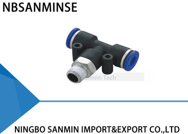 PT Plastic Male Branch Tee Fitting Pneumatic Push In Machine Accessories Connector Sanmin